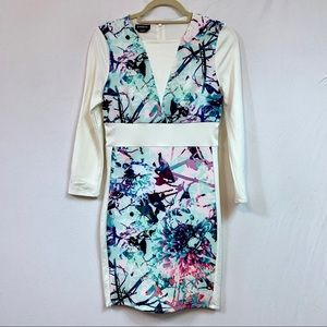Bebe Ivory and Floral Dress Size Medium